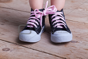 Partial success - child tied two shoes together