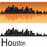 Houston skyline in orange background
