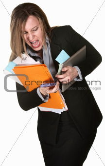 Woman Fumbling with Papers
