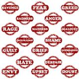 Set of rubber stamps with negative emotions