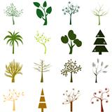 Set of trees isolated over white background
