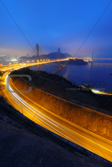 Ting Kau bridge at sunset
