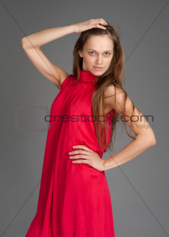 beautiful girl in red dress