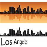 Los Angeles skyline in orange background