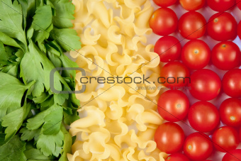 tomatoes, pasta and herb like symbol Italian flag