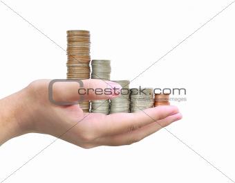 women hand holding coin thai bath