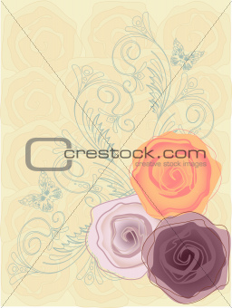 three roses on the sand background