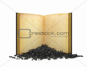 Book with falling letters