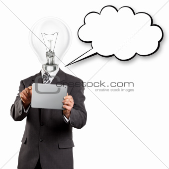 Lamp Head Businessman With Touch Pad
