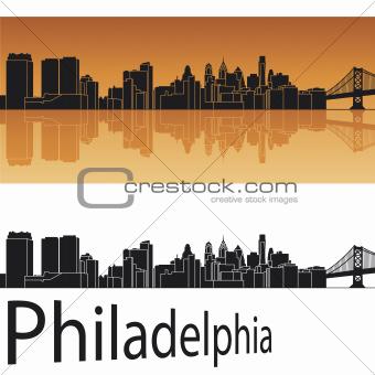 Philadelphia skyline in orange background