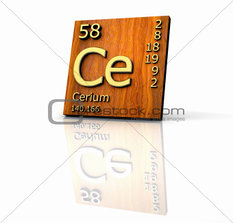 Cerium form Periodic Table of Elements - wood board