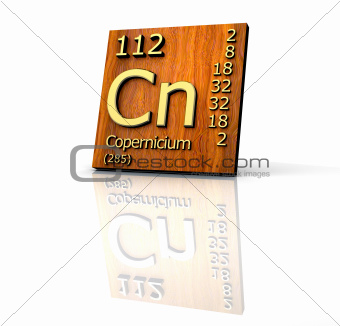 Copernicium Periodic Table of Elements - wood board
