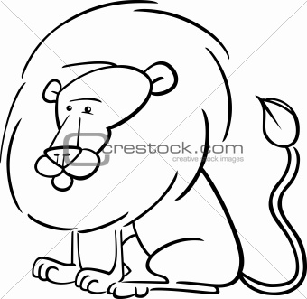 African Lion Cartoon for coloring