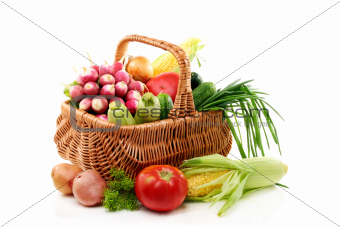 Summer vegetables in basket.
