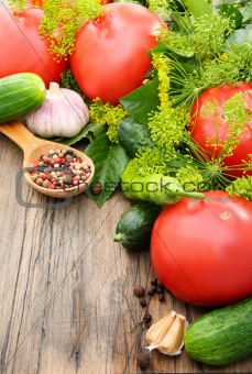 Vegetables for pickling on a wooden table.