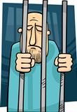 cartoon illustration of jailed man