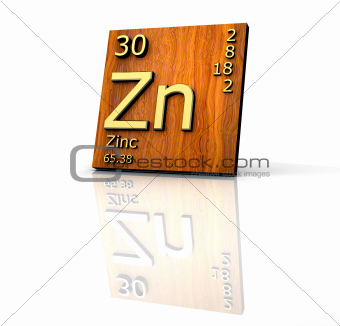 Zinc form Periodic Table of Elements  - wood board