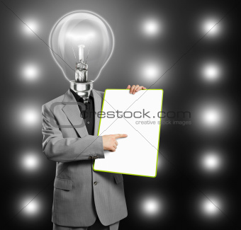 Lamp Head Business Man With Empty Write Board