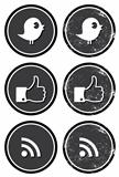 Social media retro labels - facebook, twitter, rss