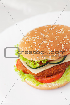Fried chicken or fish burger sandwich