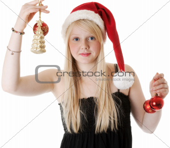 Young beautiful girl in a Santa hat
