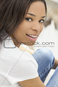 Beautiful Happy African American Girl Smiling