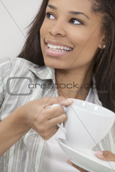 African American Woman Girl Drinking Tea or Coffee