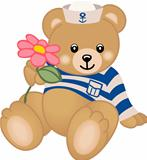 Teddy Sailor Offers Flower