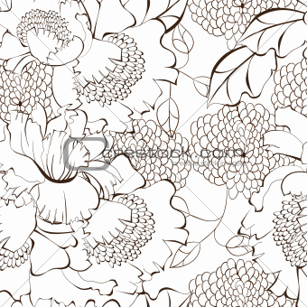 Cartoon style floral seamless background
