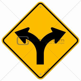 Fork in Road Sign