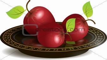 apple on black dish