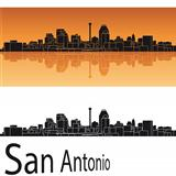 San Antonio skyline in orange background