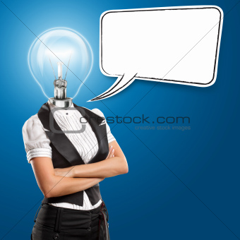 Lamp Head Business Woman With Speech Bubble