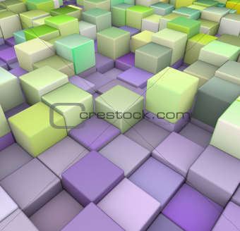 abstract 3d cubes backdrop in green and pueple