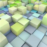 abstract 3d cubes backdrop in green and blue