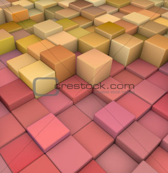 abstract 3d cubes backdrop in redand orange yellow