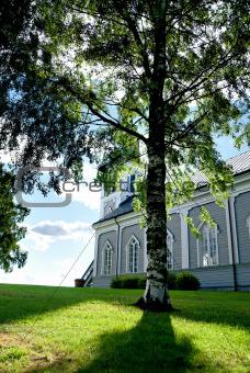 Church with birch tree