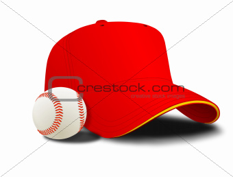 Red baseball cap and ball
