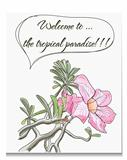 Vector card with pink tropical flower.