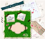 scrapbooking set with map, stamps and photo frames.