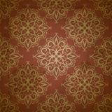 vector seamless golden pattern on red grungy background
