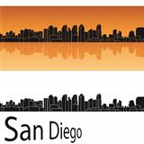 San Diego skyline in orange background