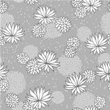 abstract flowers floral grey seamless background
