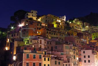 Riomaggiore buildings at night