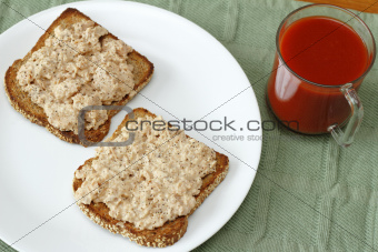 Salmon Sandwich and Tomato Juice