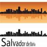 Salvador de Bahia skyline in orange background