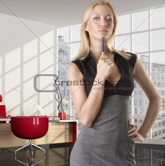 blonde business woman with serious expression
