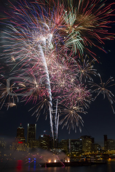 Multi-Color Fireworks Display Over Portland Oregon Skyline