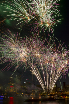 Fireworks Display Along Willamette River in Portland Oregon