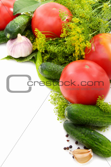 Assorted vegetables and spices.